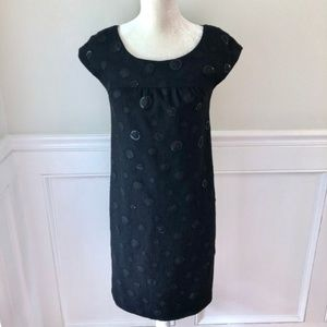 VINCE Black Wool Sequin Cap Sleeve Sheath Dress